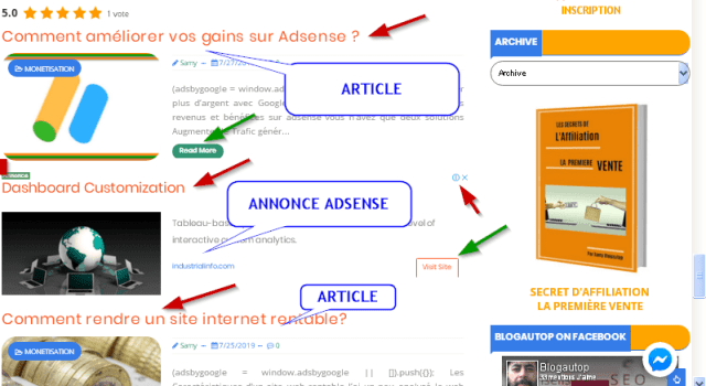 Optimize adsense revenues