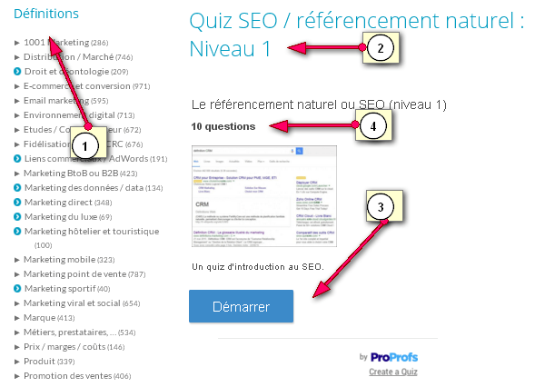 Free SEO quiz in French