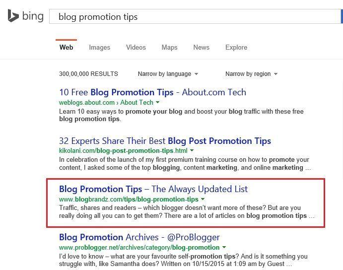 Bing Rankings