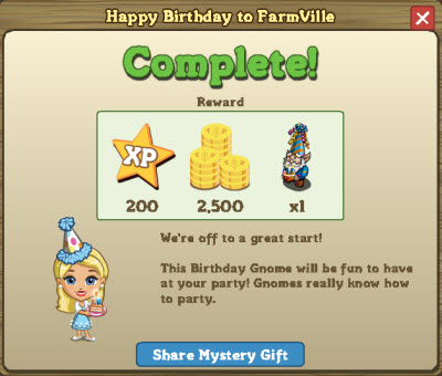 Happy Birthday to FarmVille rewards