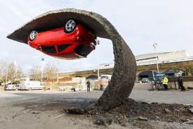 Gravity-defying Vauxhall sculpture goes up in London ...