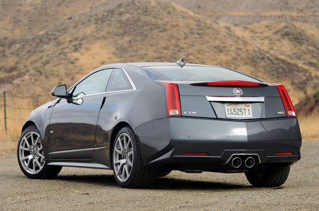 2011 Cadillac CTS-V Coupe rear 3/4 view
