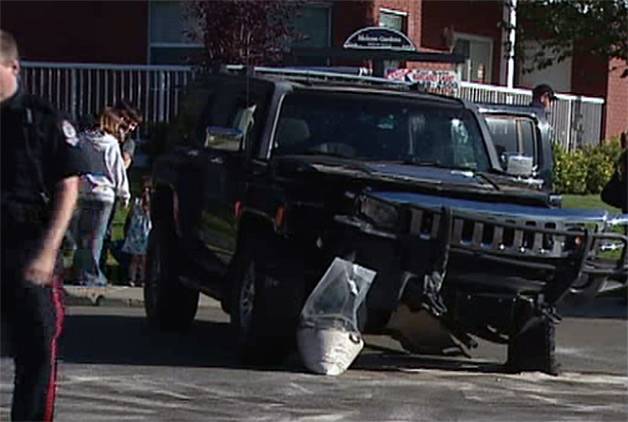 Hummer used to protect kids in crosswalk