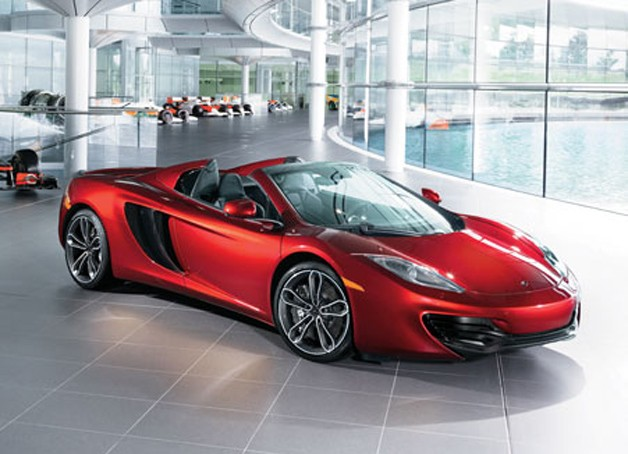 McLaren MP4-12c Spider Neiman Marcus limited edition parked in showroom
