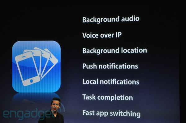 Background audio/Voice over IP/Background location/Push notifications/Local notifications/Task completion/Fast app switching