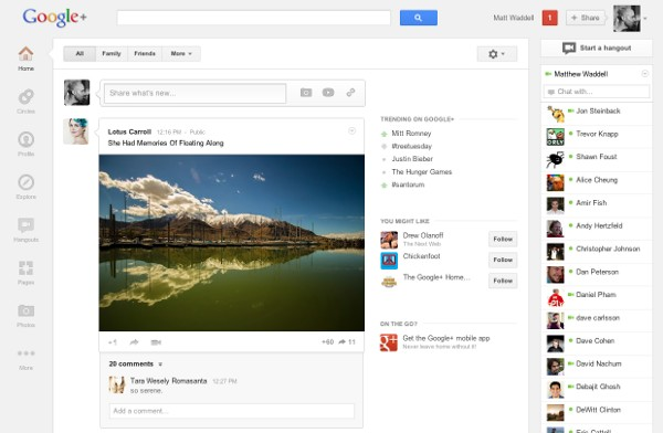 Google+ gets a major update, simpler UI and heavier focus on Hangouts