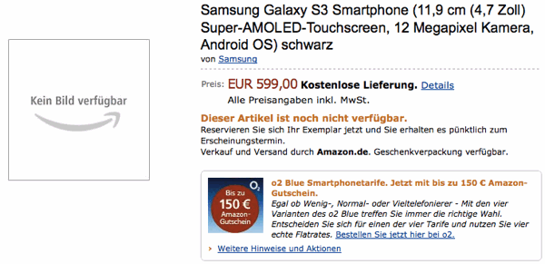 Amazon Germany weighs in on Samsung Galaxy S III with 4.7-inch screen and 12 megapixel camera