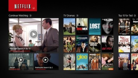 Netflix interface op Windows Tablet