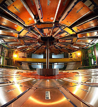 Visualized Step inside CERN's particle detecting Compact Muon Solenoid
