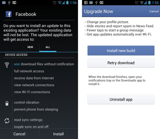 Facebook allegedly skirting Google Play store with latest update, adds auto-download of newest versions