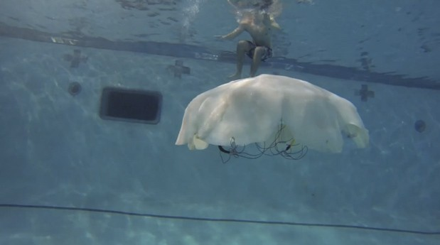 Massive robot jellyfish reporting for recon duty, sir (video)