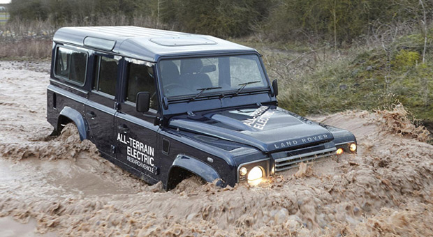 Land Rover EV prototype treads lightly uphill, recharges on the way down