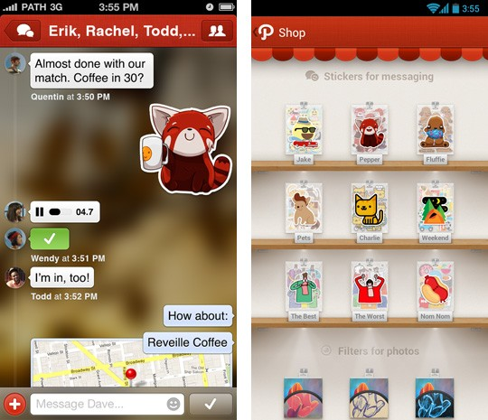 Path 3 adds private messaging and stickers like your 5th grade yearbook