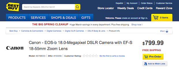 Canon's $800 18MP EOSb pops up on Best Buy's website for preorder, potentially a shrunken T4i