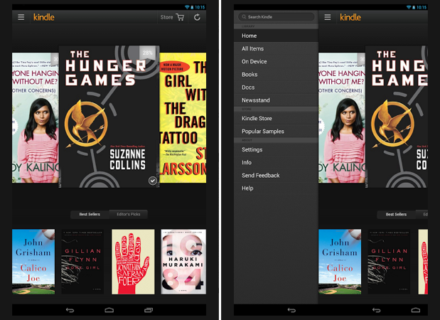 Kindle app for Android gains carousel browsing, expanded side panel