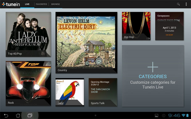 TuneIn Live update comes to Android, offers category curated content discovery
