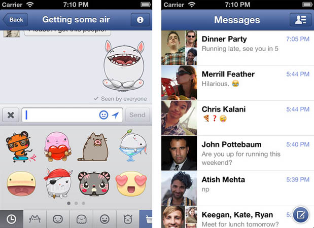 Facebook Messanger for iOS now with stickers and messagedeleting swipes