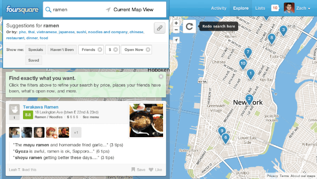 Foursquare's website now lets you sort businesses by price, hours and checkins