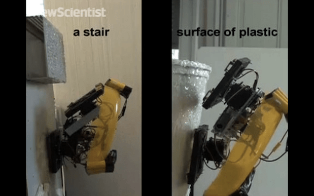 DNP Climbing robot melts and cools plastic to get its footing