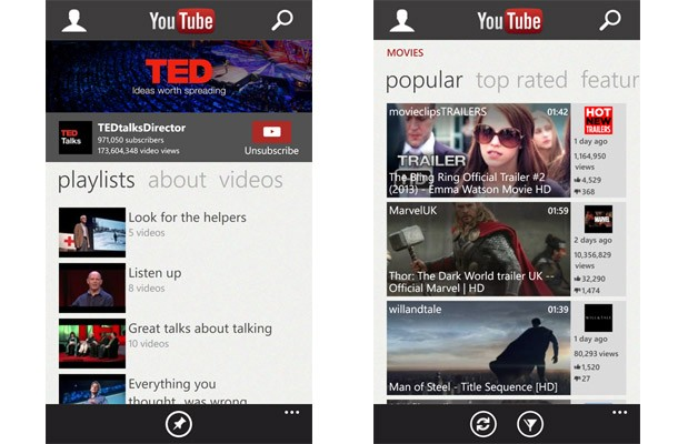 Windows Phone 8's YouTube app goes from glorified bookmark to full application in latest update