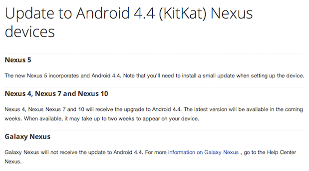 Google Samsung Galaxy Nexus won't get updated to Android 44 KitKat