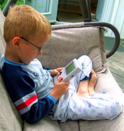 Game Boy line; he hardly even notices his inside-out race car pajamas!