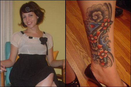 The tattoo: Flower and wave mural on inner left calf