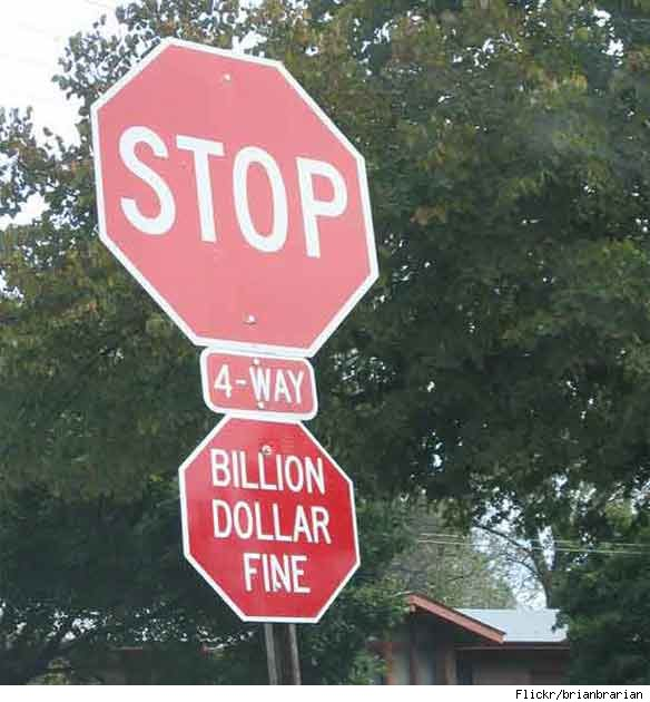 Hacked Altered Stop Signs Billion Dollar Fine