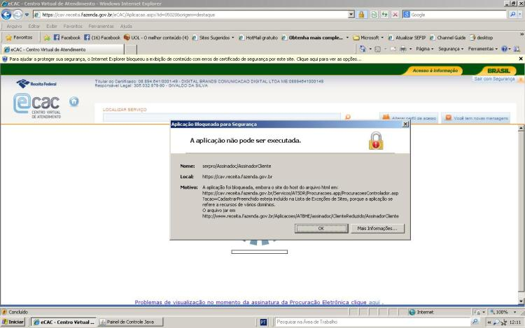 Erro no acesso com Certificado Digital no Site da Receita