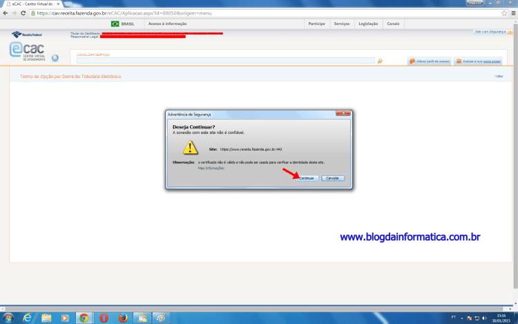 Erro Java DTE - Aviso de segurança 1
