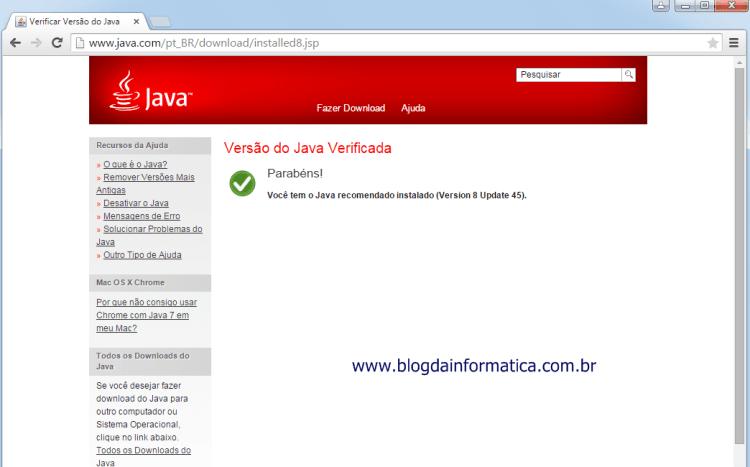 Google Chrome - Plugin Java - Versão 42 funcionando normalmente