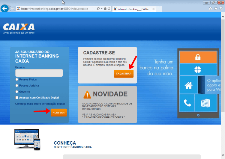 Tela de acesso ao Internet Banking