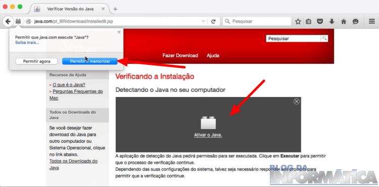 Ativando o Java no Browser
