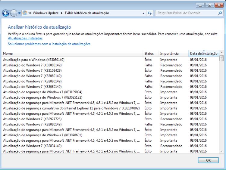 Confirmação da instalação do KB3080149