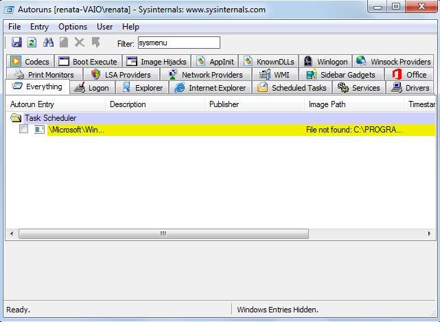 Removendo o sysmenu.dll da inicialização