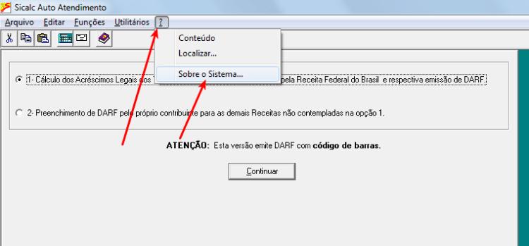 Sicalc - Verificar versão
