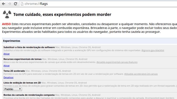 Painel das flags do Google Chrome