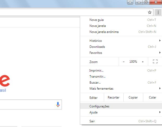 Chrome 59 - Menu de configurações