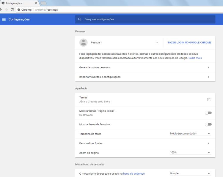 Chrome 59 - Configurações básicas - 1