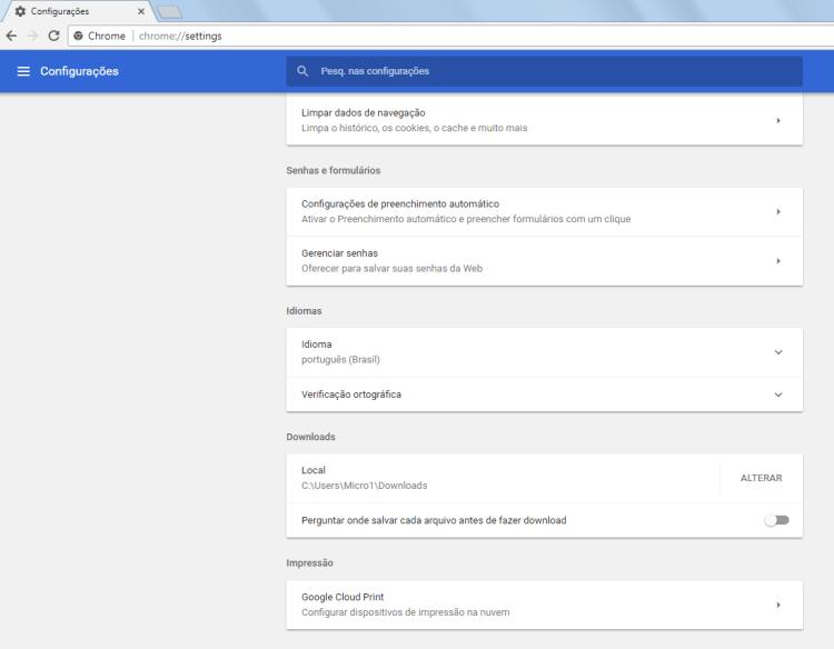 Chrome 59 - Configurações avançadas - 2