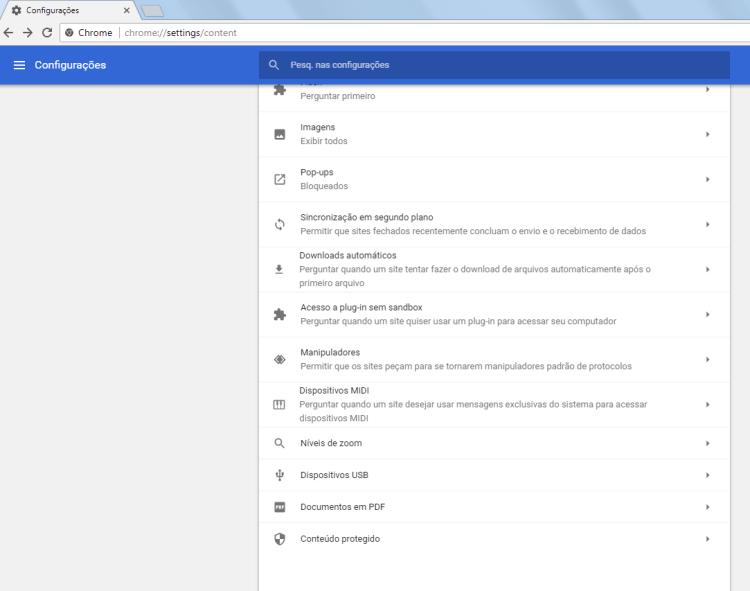 Chrome 59 - Configurações de conteúdo - 2