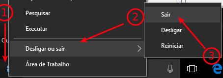 Fazer logoff no Windows 10
