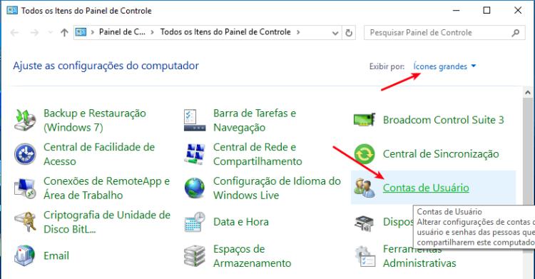 Acesso a Contas de usuários no Windows 10