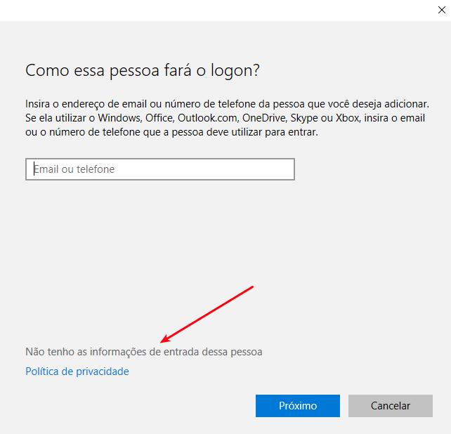Interface Windows 10 - Sem informações do usuário