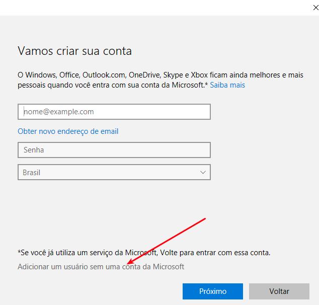 Interface Windows 10 - Adicionando uma conta local