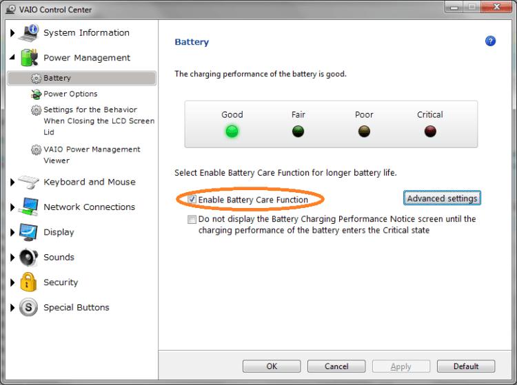 Sony Vaio Battery Care