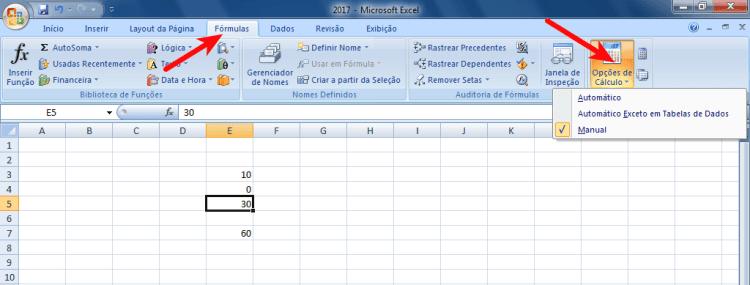 Excel - Menu Fórmulas