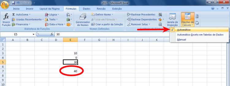 Excel - Reativar o cálculo automático