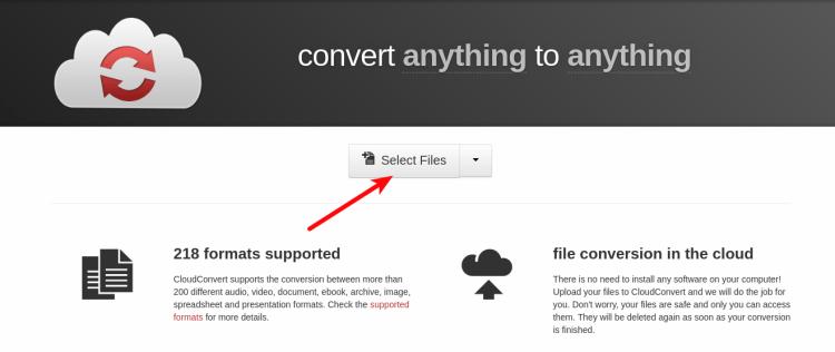cloudconvert.com - Selecionando arquivo