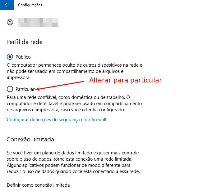 Alterar rede pública para privada no Windows 10 -